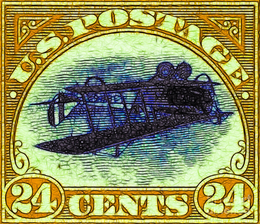 Pop Photograph - The Upside Down Biplane Stamp - 20130119 - V3 by Wingsdomain Art and Photography