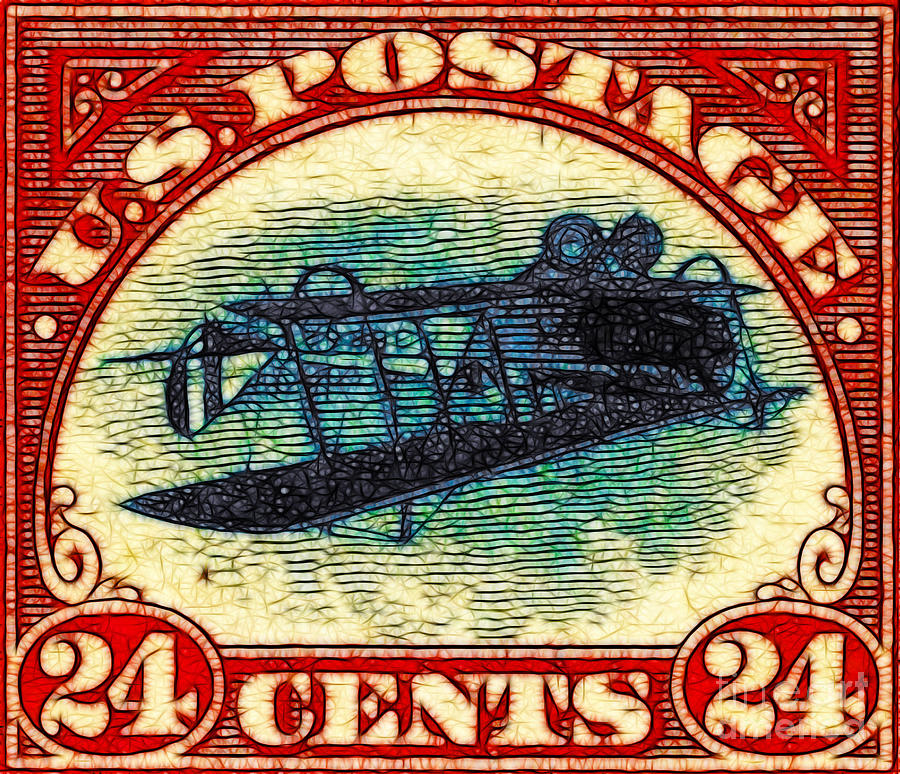 Pop Photograph - The Upside Down Biplane Stamp - 20130119 by Wingsdomain Art and Photography