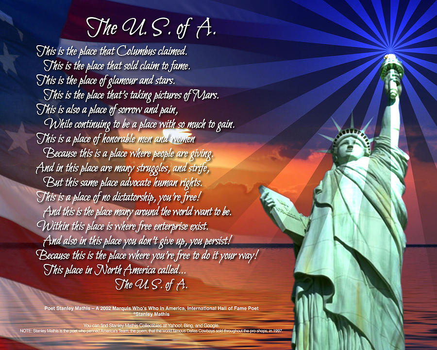 The Usa Statue Of Liberty Poetry Art Poster Digital Art by Stanley Mathis