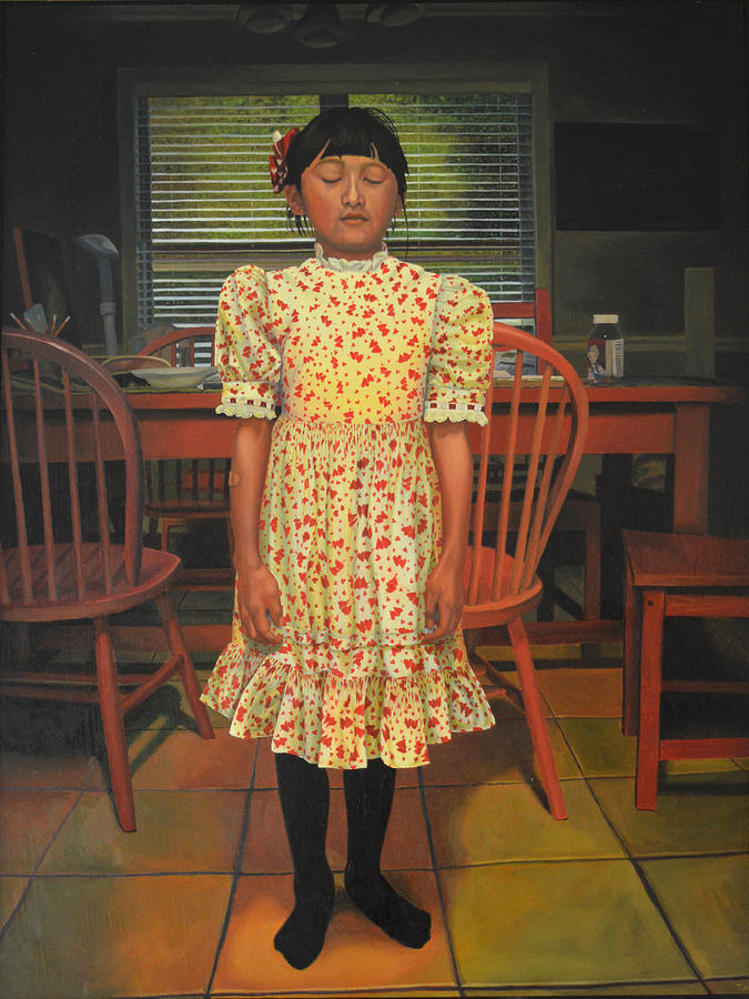 Little Girl Painting - The Valentine Dress by Thu Nguyen