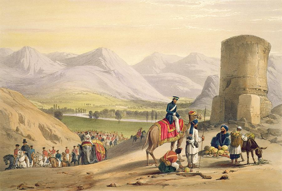 Mountain Range Drawing - The Valley Of Maidan, From Sketches by James Atkinson