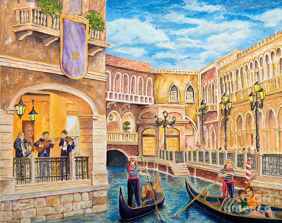 Las Vegas Painting - The Venetian Canal  by Vicki  Housel