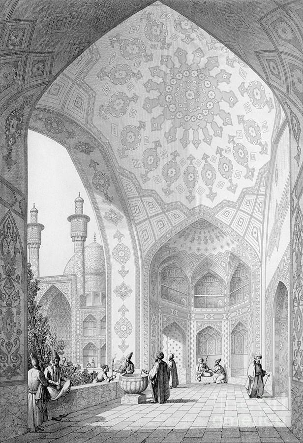 Coste Painting - The Vestibule Of The Main Entrance Of The Medrese I Shah-hussein by Pascal Xavier Coste
