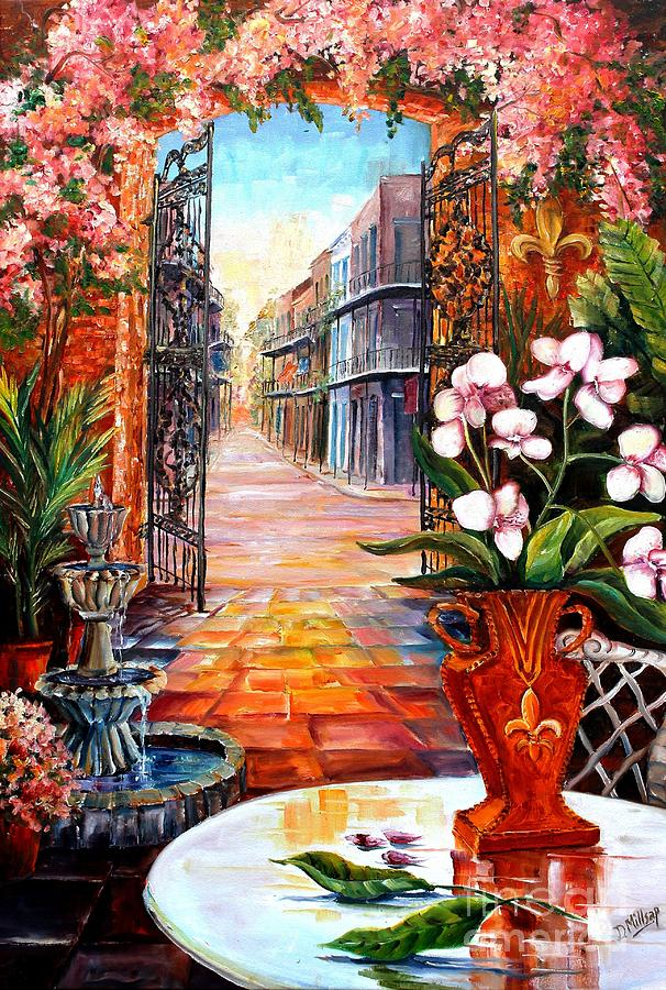 New Orleans Painting - The View From A Courtyard by Diane Millsap