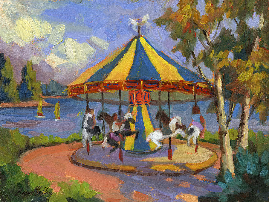 Carousel Painting - The Village Carousel At Lake Arrowhead by Diane McClary