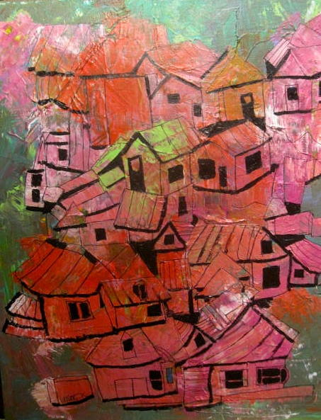 Abstract Painting - The Village In Foliage by Michael Litvack