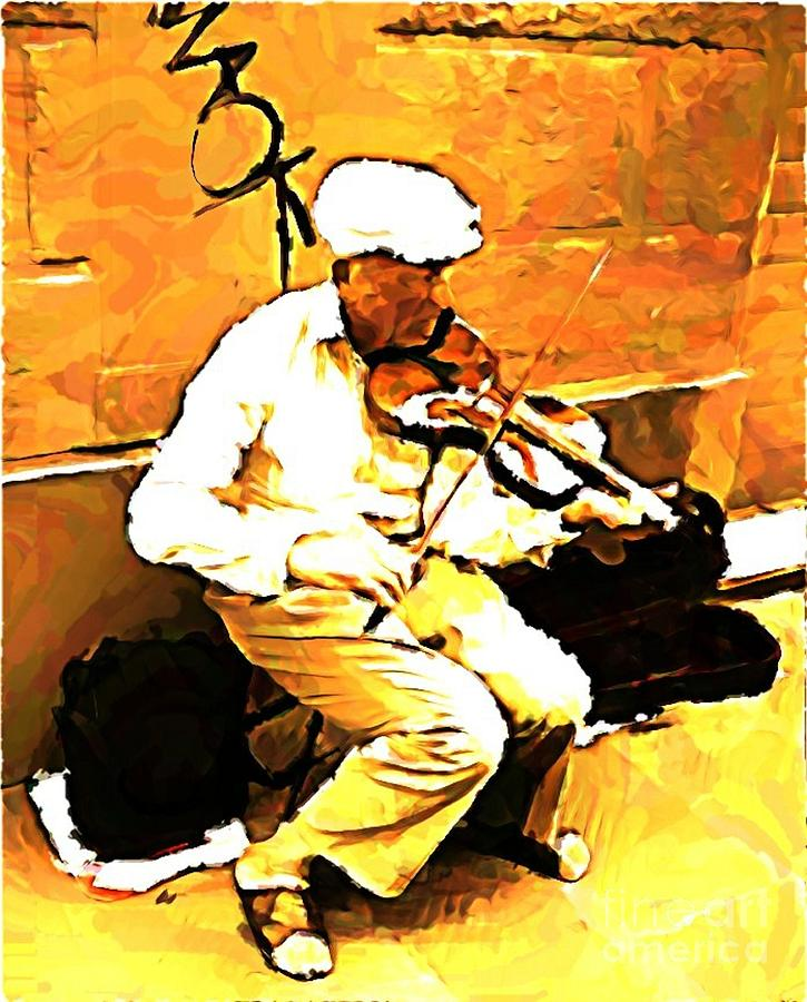 Music Painting - The Violenist by John Malone