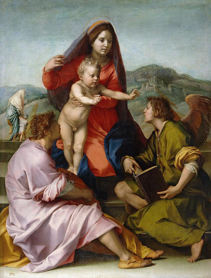 1522 Painting - The Virgin And Child Between Saint Matthew And An Angel by Andrea del Sarto