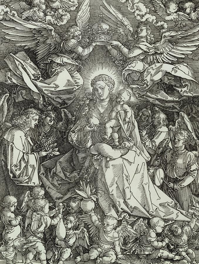 Durer Painting - The Virgin And Child Surrounded By Angels by Albrecht Durer or Duerer