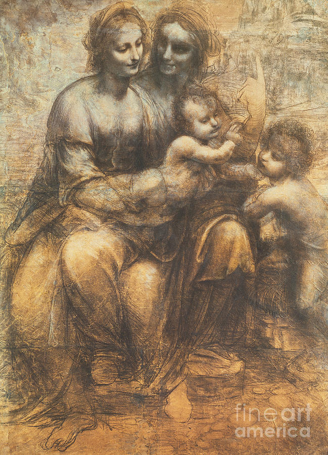 Young Drawing - The Virgin And Child With Saint Anne And The Infant Saint John The Baptist by Leonardo Da Vinci