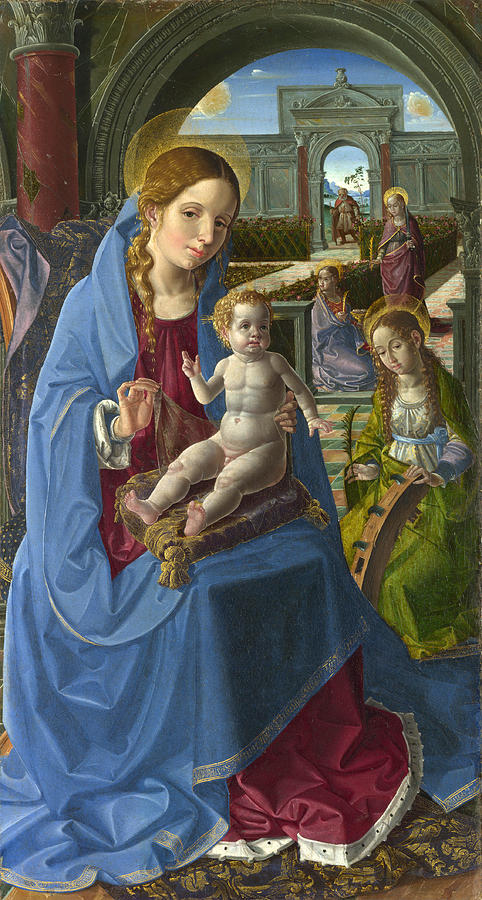 Religious Painting - The Virgin and Child with Saints by Paolo da San Leocadio