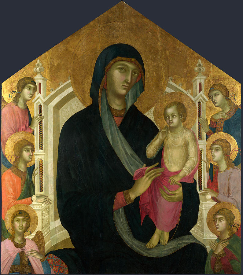 Religious Painting - The Virgin And Child With Six Angels by Master of the Casole Fresco