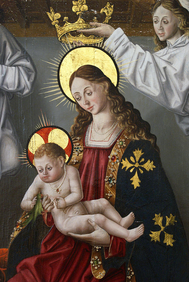 Canvas Prints Painting - The Virgin And The Child With The Parrot by Fernando Gallego