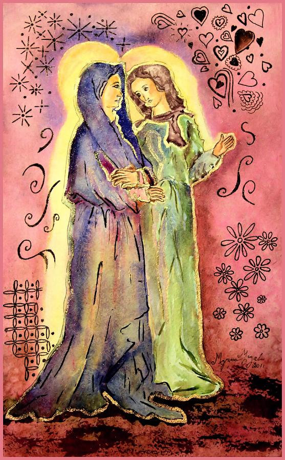 Bible Painting - The Visitation by Myrna Migala