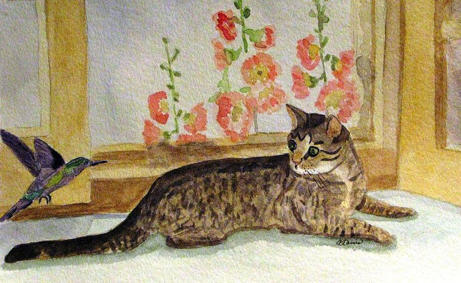 Cat Painting - The Visitor by Angela Davies