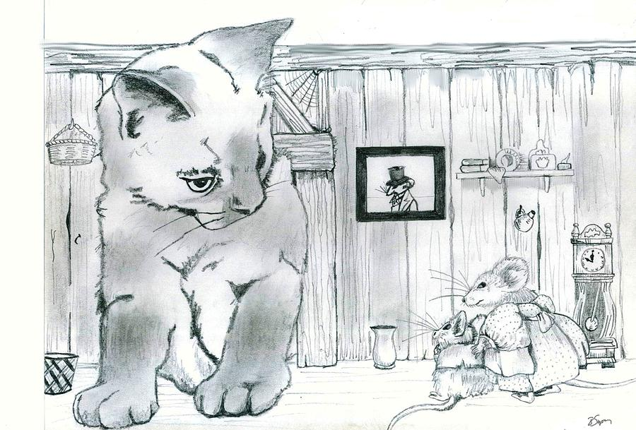 Cat Drawing - The Visitor by Brad Simpson