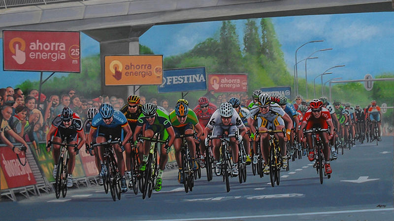 Cycling Painting - The Vuelta by Paul Meijering