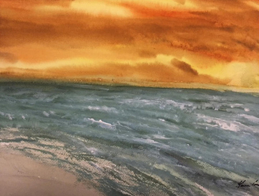 Beach Painting - The Walk Alone by Karen  Condron