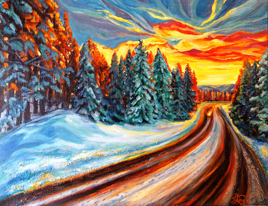 Winter Painting - The Walk by Suzanne King