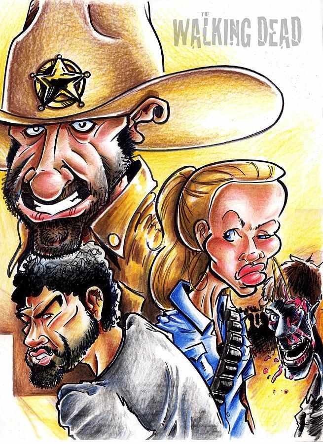 Big Mike Roate Drawing - The Walking Dead by Big Mike Roate