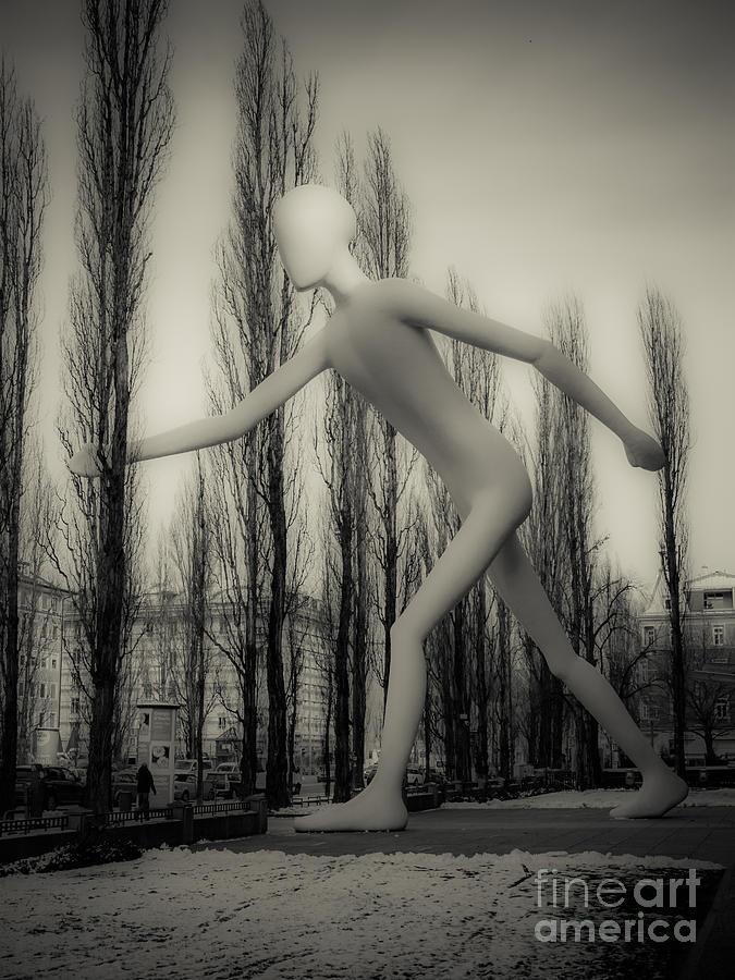 Bavaria Photograph - The Walking Man - Bw by Hannes Cmarits