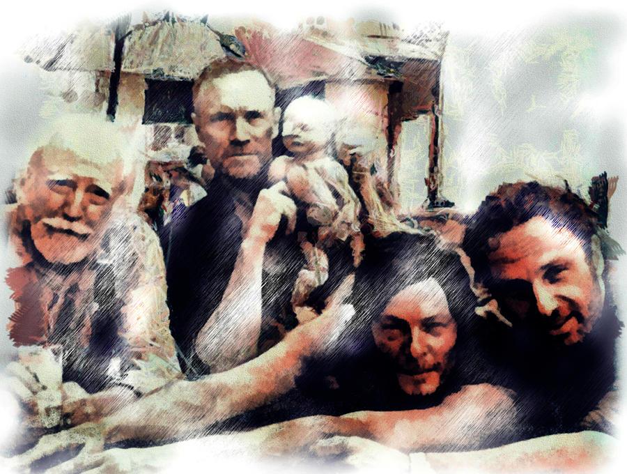 The Walking Dead Drawing - The Walking Men by Janice MacLellan