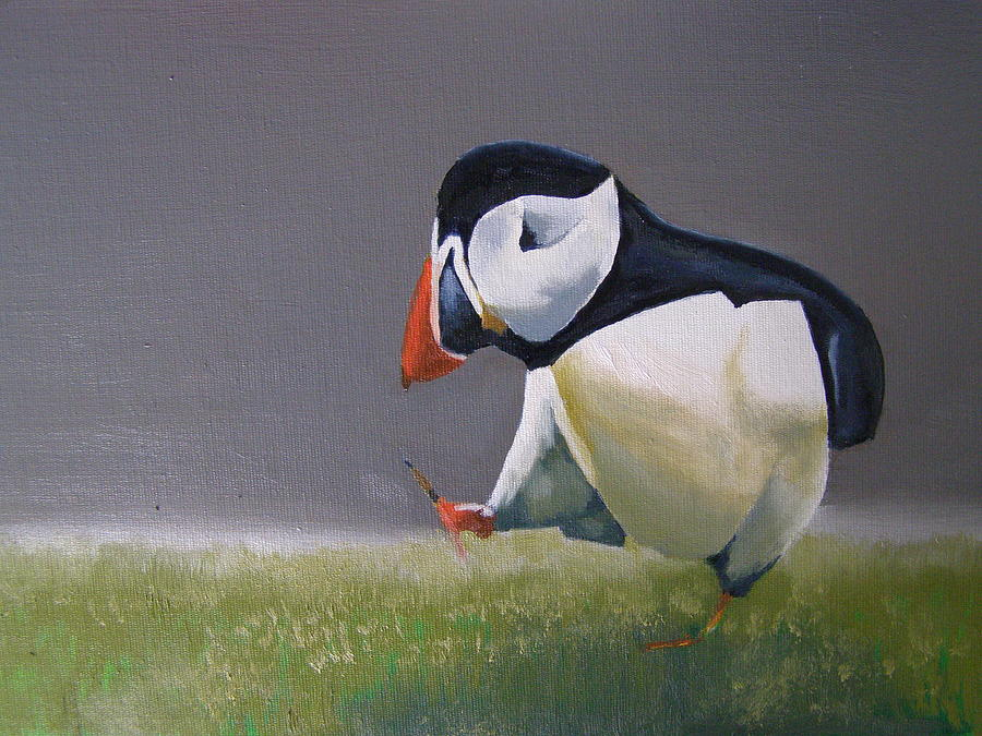 Puffin Painting - The Walking Puffin by Eric Burgess-Ray