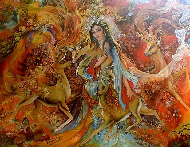 Persian Painting Painting - The Warmth Of Love by Sonia P