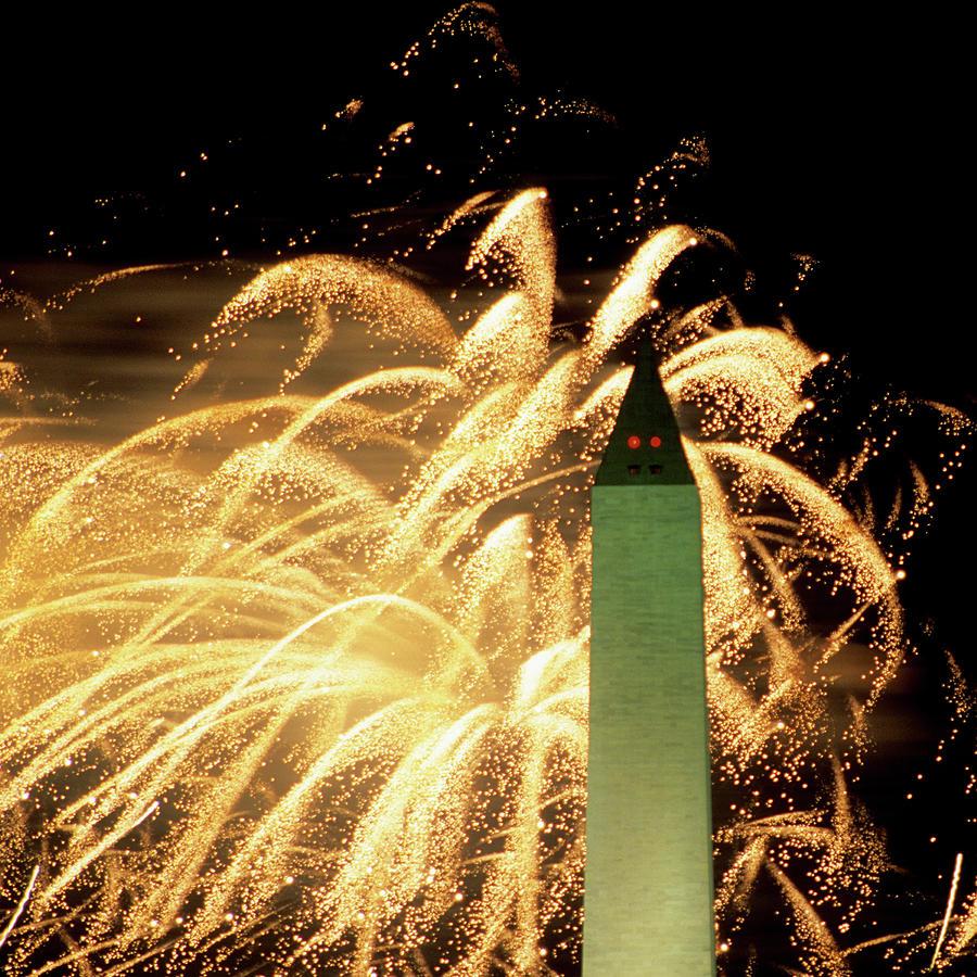 The Washington Monument And Fireworks Photograph by Hisham Ibrahim