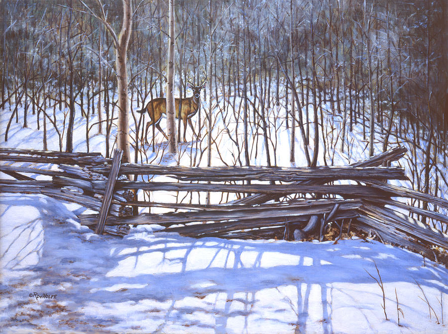 White-tailed Deer Painting - The Watcher In The Wood by Richard De Wolfe