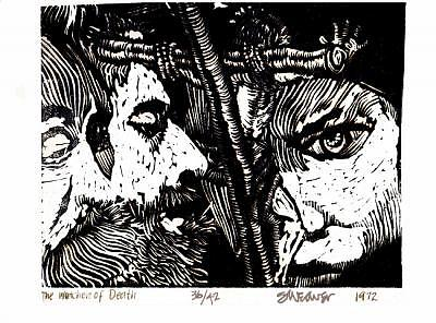 Linocut Print Relief - The Watchers Of Death by Seth Weaver