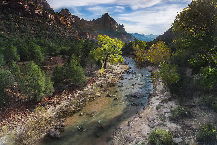 Watchman Photograph - The Watchman in Zion National Park by Larry Marshall