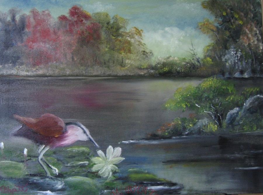 Birds Painting - The Water Bird by M Bhatt