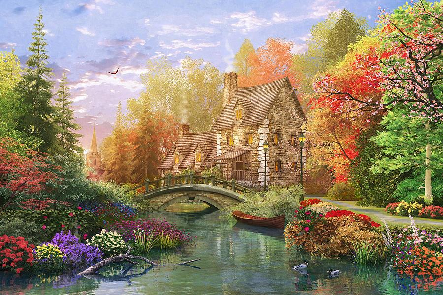 The Water Lake Cottage Digital Art by Dominic Davison