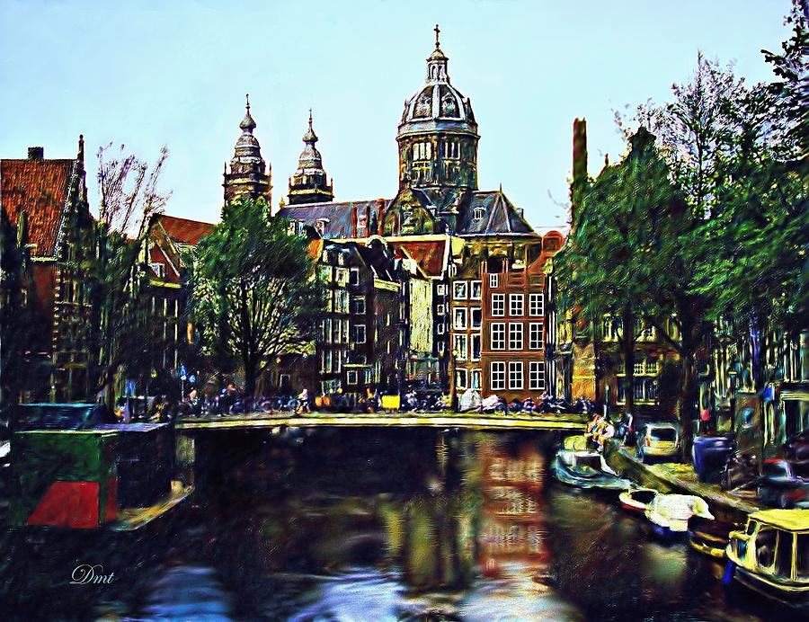 Cityscape Digital Art - The Water Way Amsterdam by Dmt