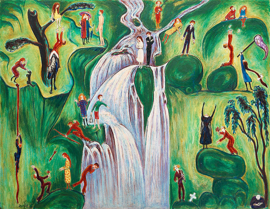 Nils Dardel Painting - The Waterfall by Nils Dardel