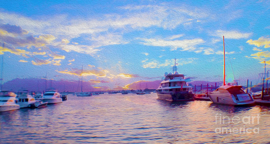 Sunset Mixed Media - The Waters Are Calm Painting  by Jon Neidert