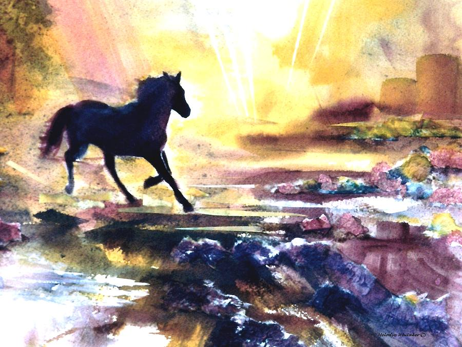 Horse Painting - The Way Home by Melodye Whitaker