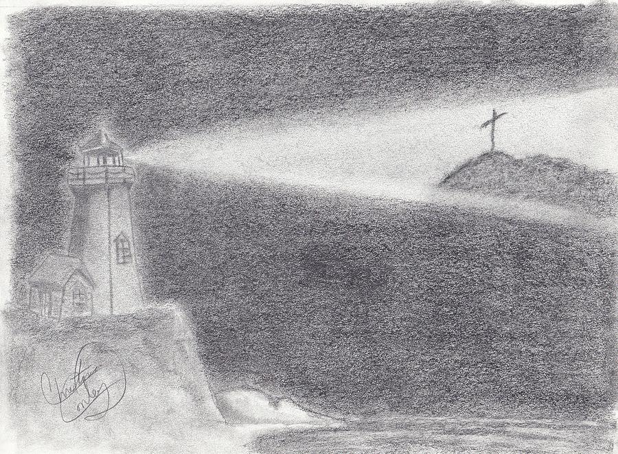 Lighthouse Drawing - The Way To The Cross by Christina Conley
