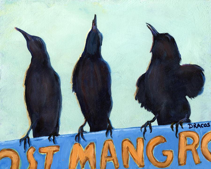 Birds Painting - The Weathermen Black Birds by Dottie Dracos