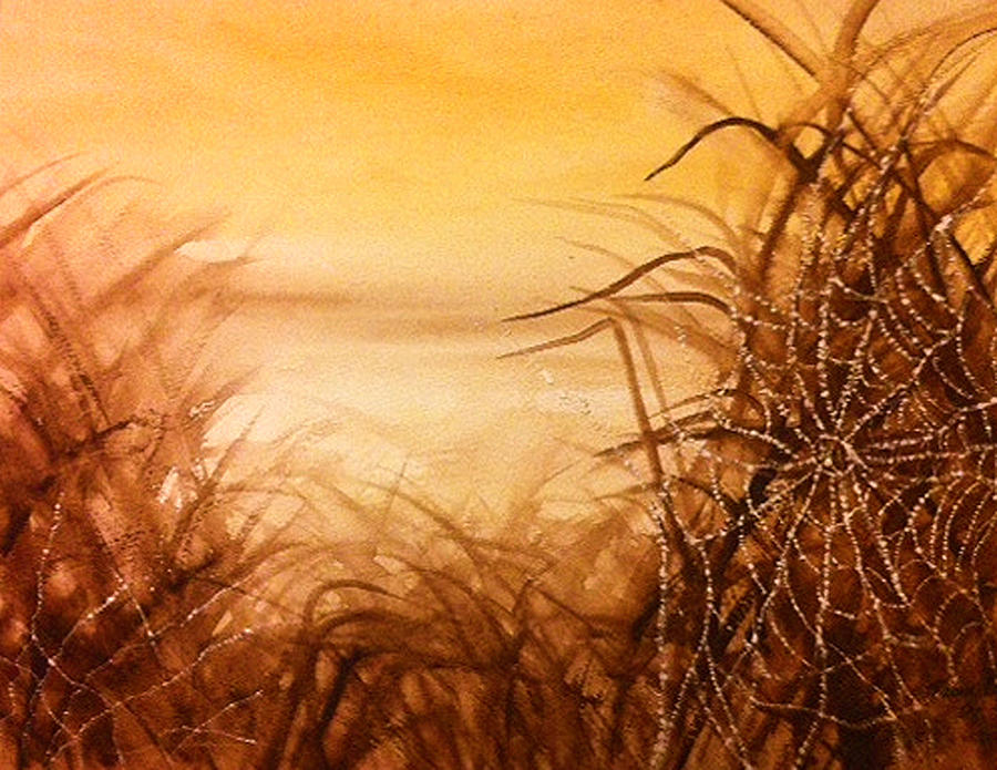 The Web At Dawn Painting by Karen  Condron