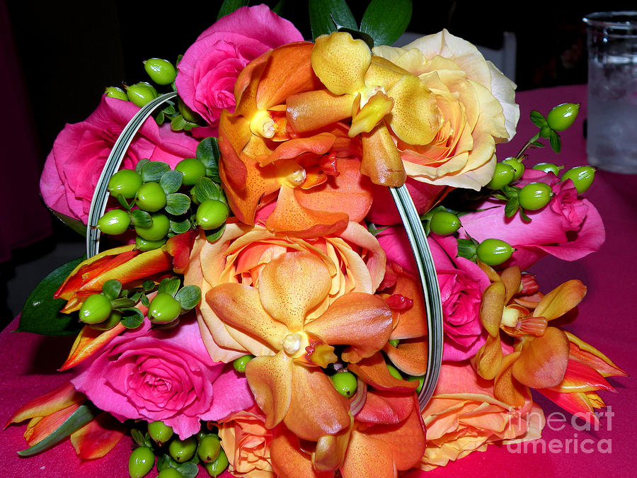 Wedding Flowers Photograph - The Wedding Flowers by Kathy  White