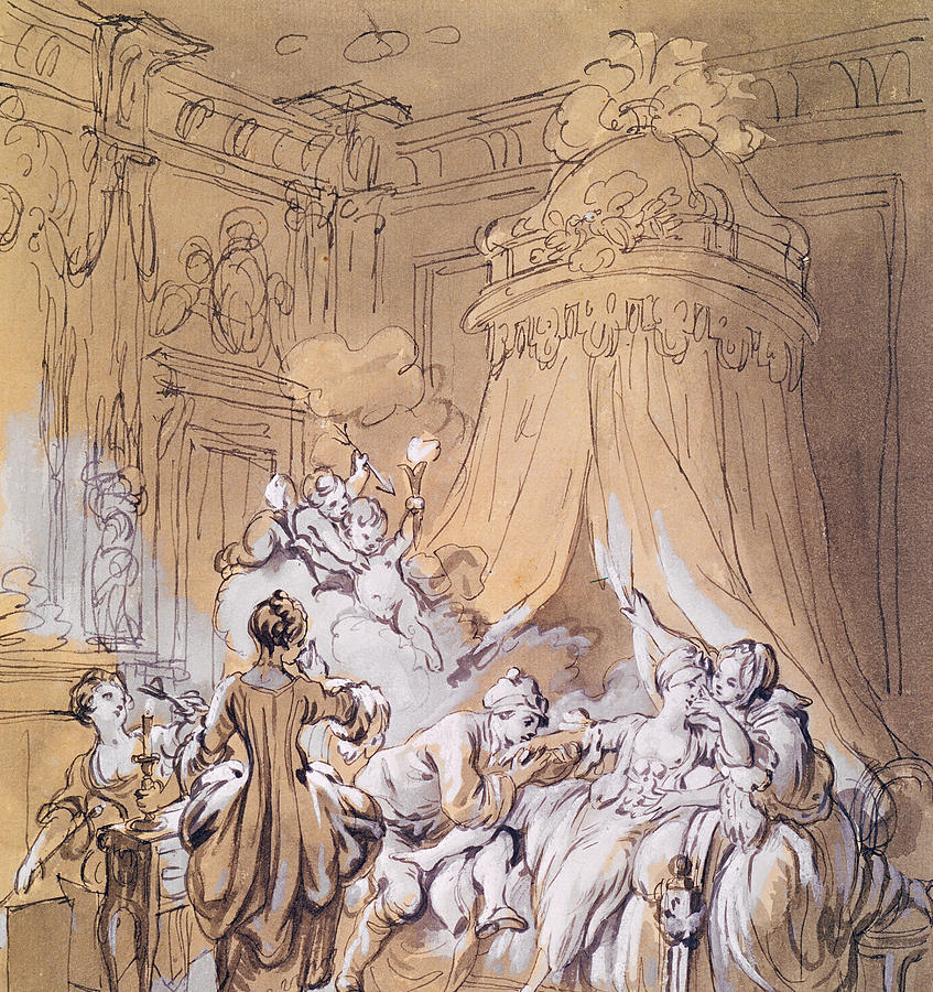 The Wedding Night Drawing By Pierre Antoine Baudouin