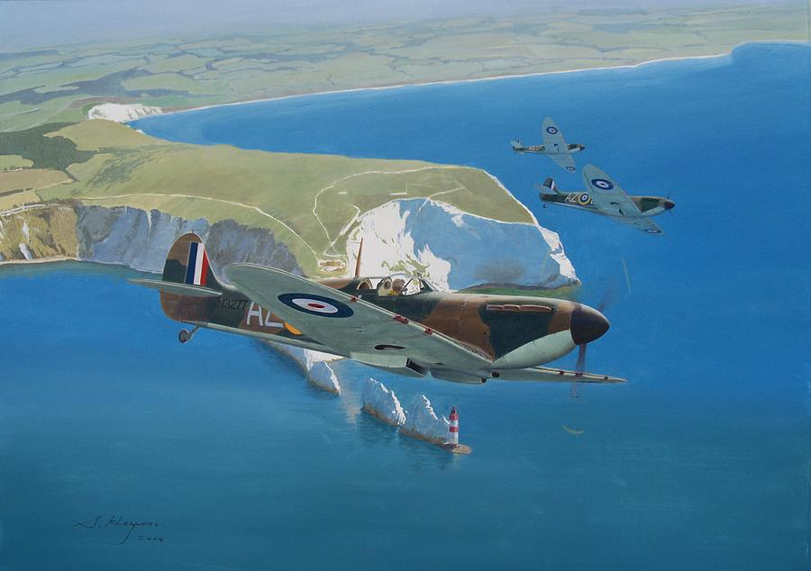Spitfire Painting - The Welcome Calm by Steven Heyen