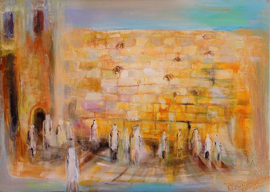 Judaica Store Painting - The Western Wall by Elena Kotliarker