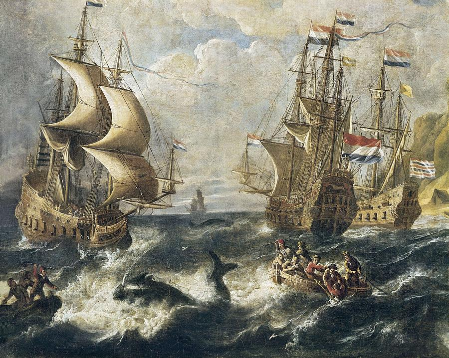 Horizontal Photograph - The Whale Fishing. Oil On Canvas by Everett