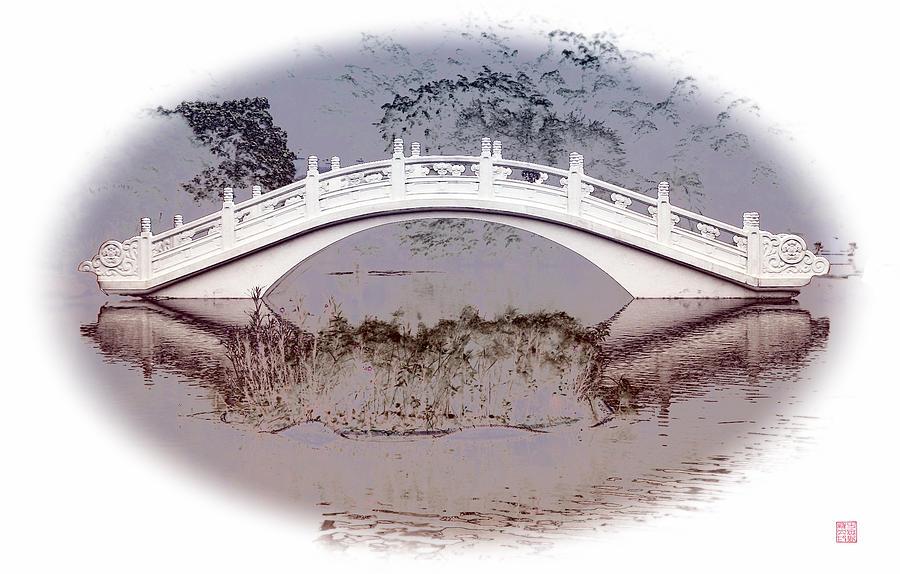 Montage Digital Art - The White Bridge by Roger Smith