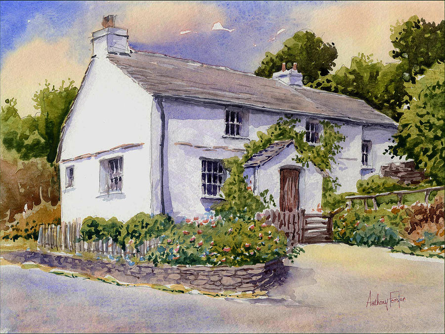 Landscape Painting - The White Cottage by Anthony Forster