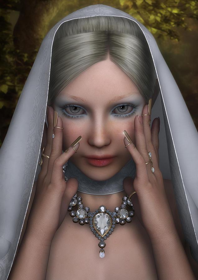 Woman In White Digital Art - The White Lady by Rachel Dudley