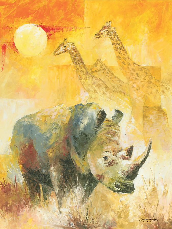White Painting - The White Rhino by Christiaan Bekker
